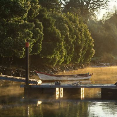 dinghy in misty morning light