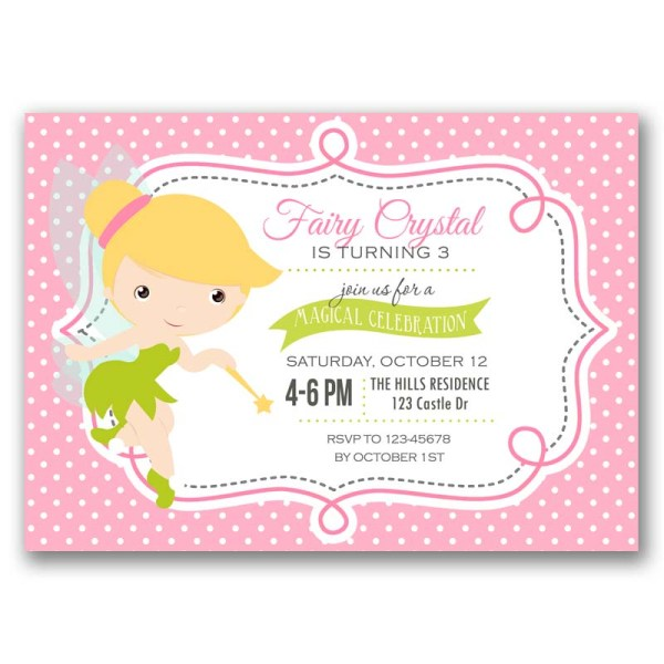 Tinkerbell Birthday Invitation Fairy