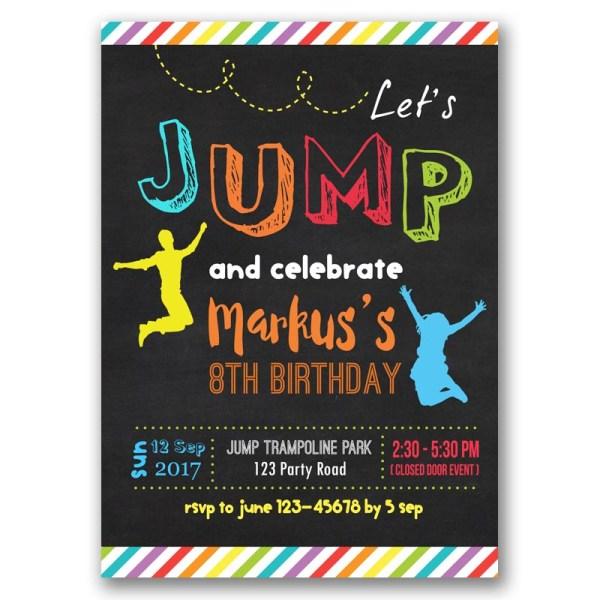 Jump Trampoline Party Birthday Invitation