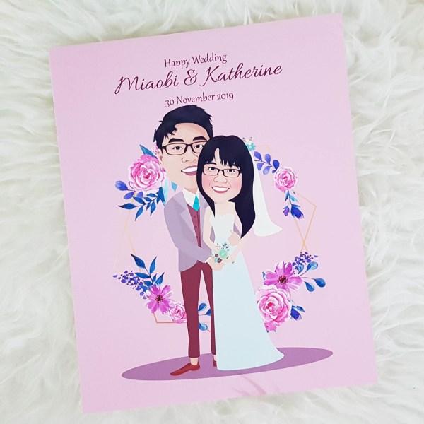Singapore Custom Caricature | Wedding Couple Anniversary Engagement Gift