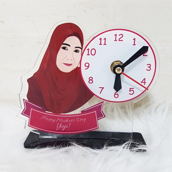 Personalised Photo Gifts Singapore - Acrylic Caricature Standee with Clock
