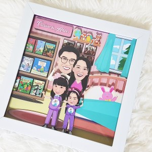 3D Caricature Frames euth Cardstock - Customised Gifts