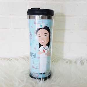 Caricature Stainless Steel Tumbler - Singapore Personalised Gifts