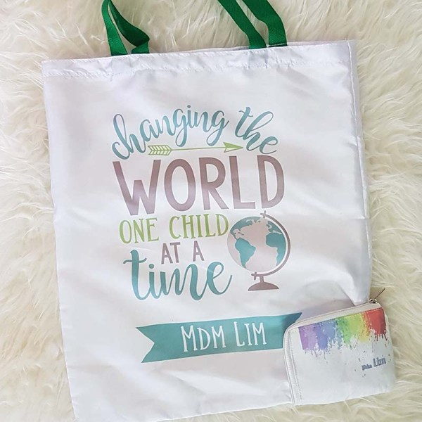 Foldable Shopping Bag for Teachers - Customised Gift with Name