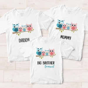 customised family t shirts singapore - owl family tees