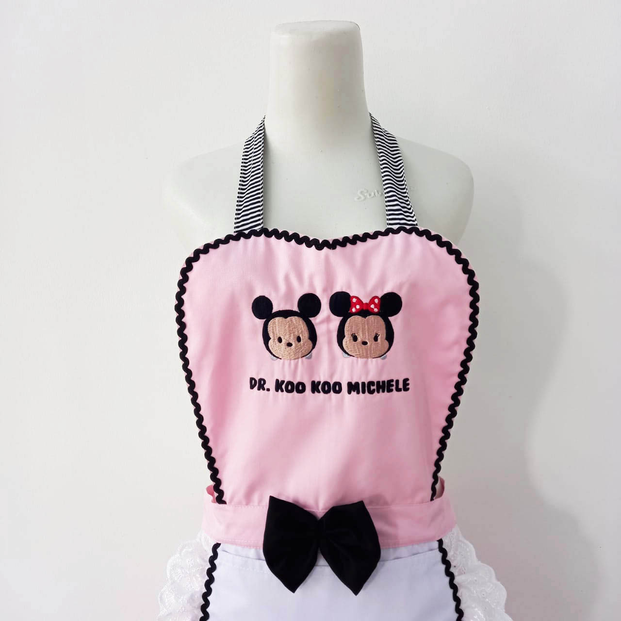 Customised Maid Style Apron with Stripes and Bow