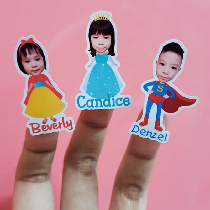 Singapore Kids Name Labels with Head Photo in Cartoon Character Body