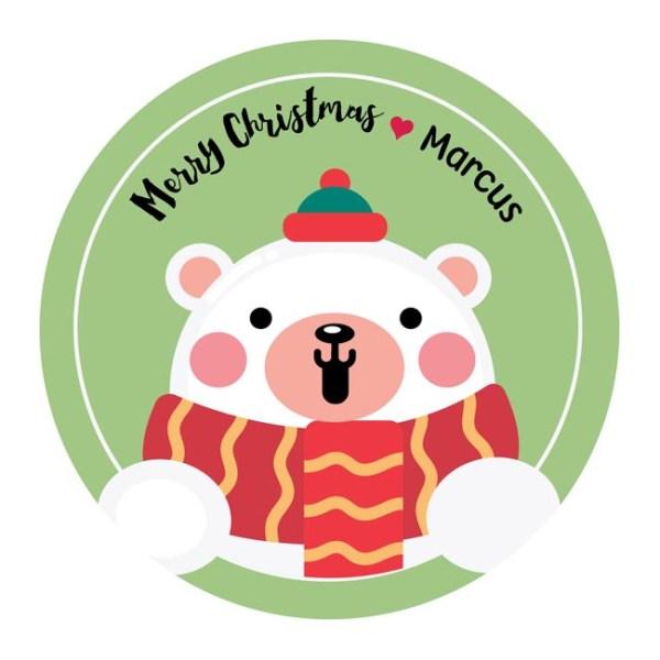 Polar Bear Cute Personalized Christmas Stickers