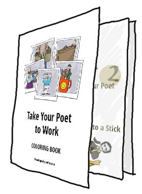 free take your poet to work day coloring book standing only