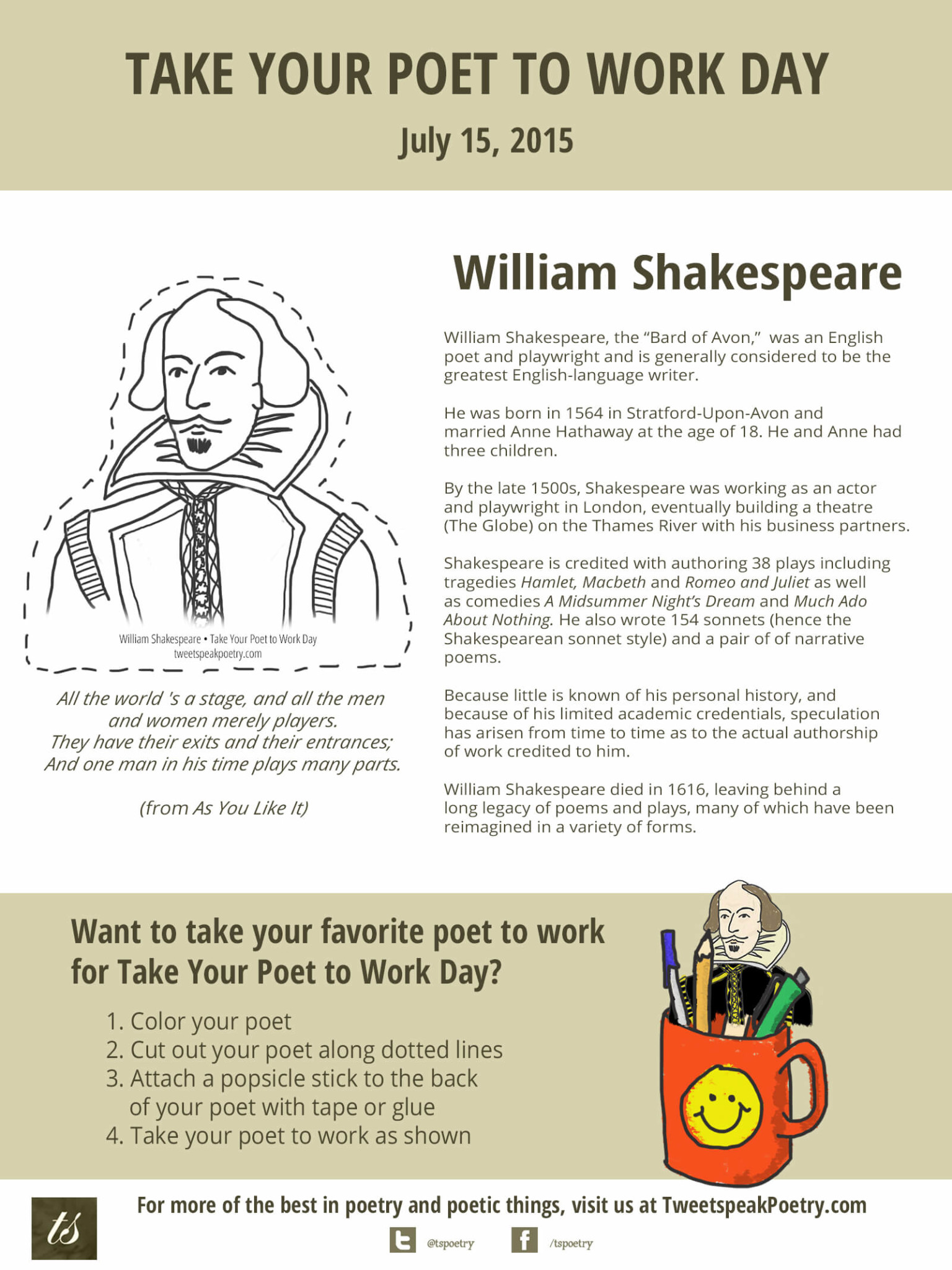 Take Your Poet To Work William Shakespeare