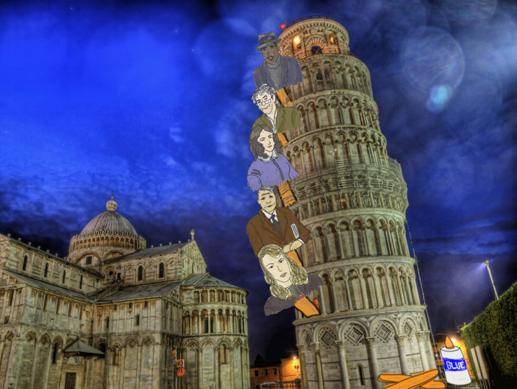 Leaning Tower of Pisa with Hughes Plath Heaney Frost Barrett Brown for Take Your Poet to Work Day