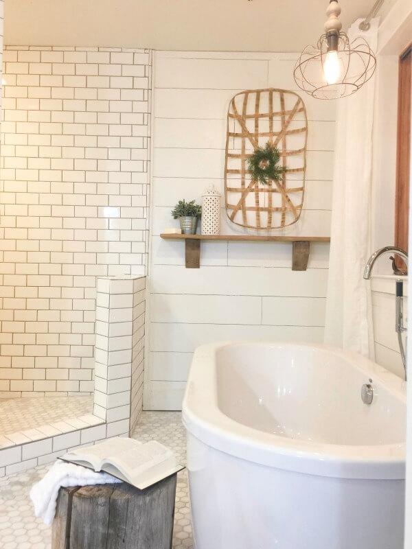 Farmhouse Master Bathroom   Final Reveal - Twelve On Main on Rustic Farmhouse Bathroom Tile  id=16545