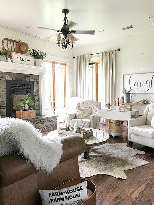 Farmhouse Living Room Ideas for the Summer - Twelve On Main on Farmhouse Style Living Room Curtains  id=69654