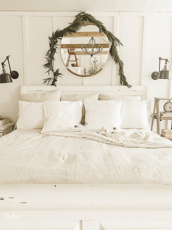 Simple Scandinavian Farmhouse Style Christmas Bedroom ... on Main Bedroom Decor  id=20370