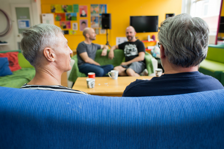 Same-sex attracted men enjoy a cup of tea at Talking It Out, a men's discussion group held at Twenty10 inc. GLCS NSW, Sydney.