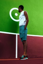 Supermodel Dominic Hudson in white Soldanza inspired cotton tunic with pool blue jumper inspired shorts.Shoes: PumaPhotographer: Wade Rhoden