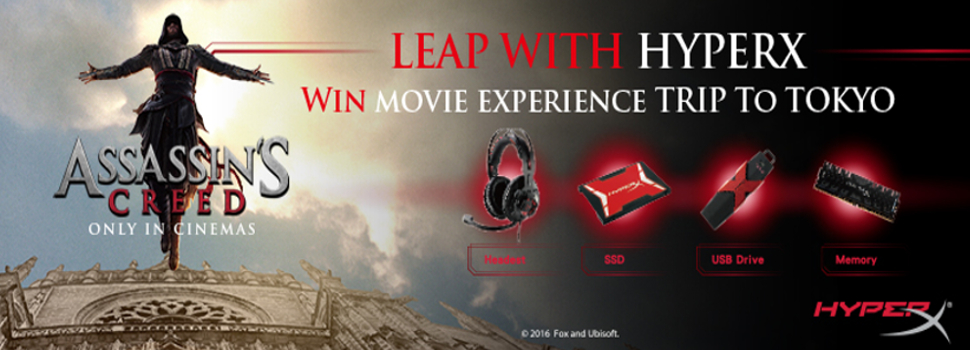Get a chance to win an Assassin's Creed Movie Trip for every HyperX purchase