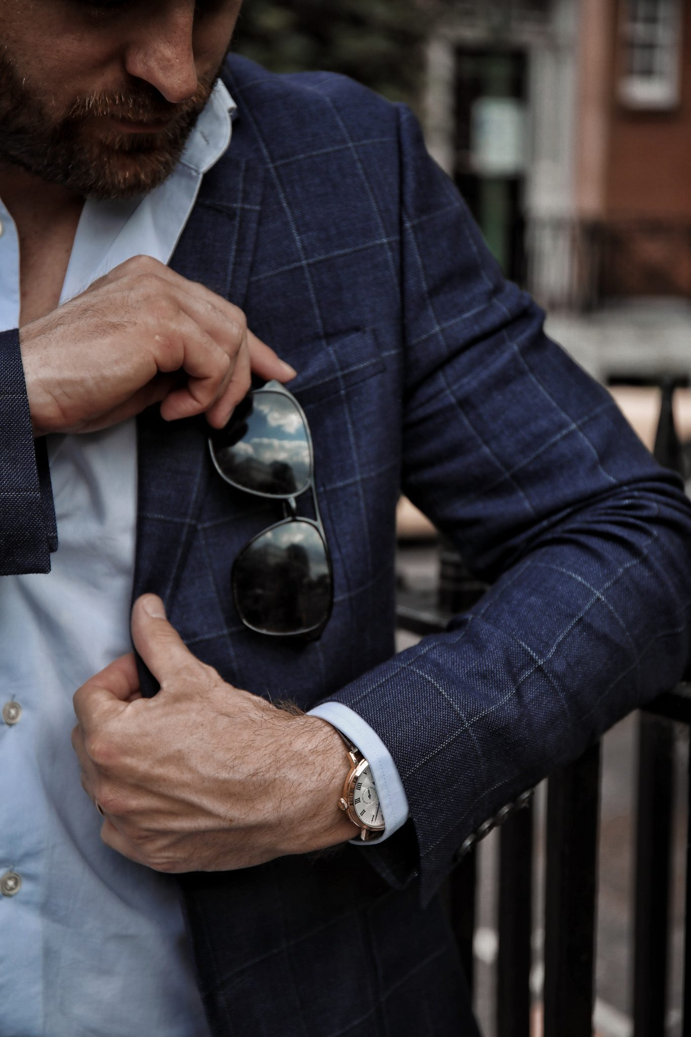 Jaeger Blazer Gucci Sunglasses Reiss Shirt Goodwin Smith Menswear Fashion Outfit