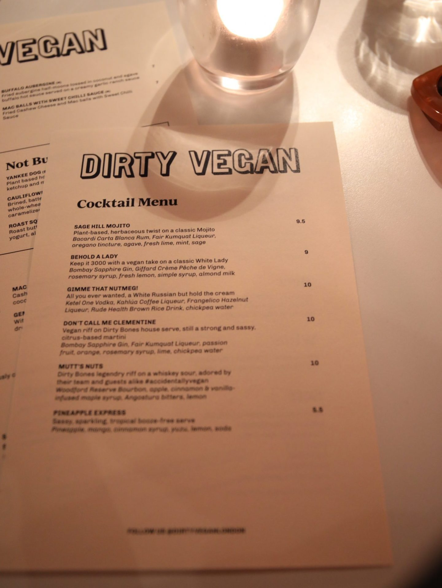 Dirty Vegan Dirty Bones Soho London Menu