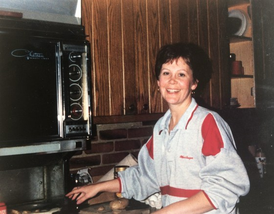 A rare sighting: mom in front of the stove.
