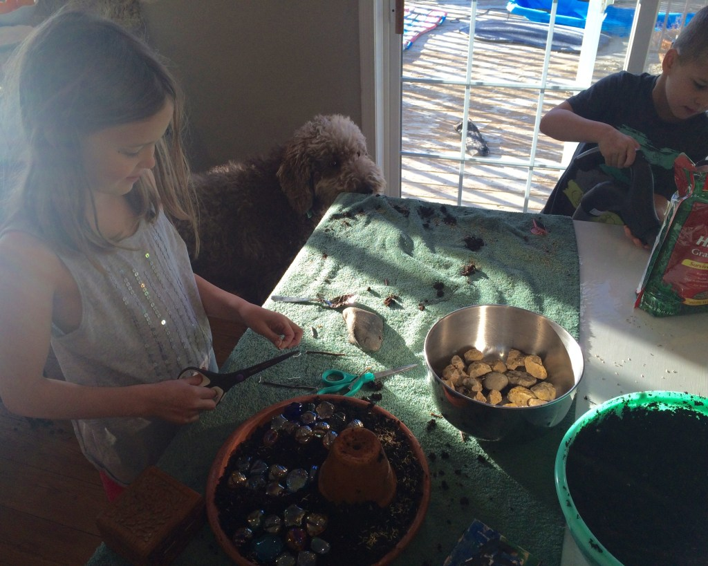 kids having fun with the Easter Garden