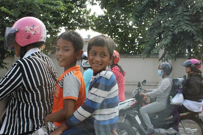 Cambodia Kid  On Motobike