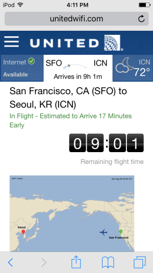 United Airlines App and Flight Information