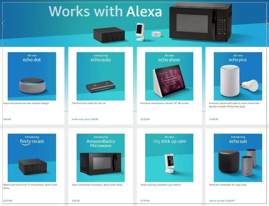 echo and alexa products and microwave