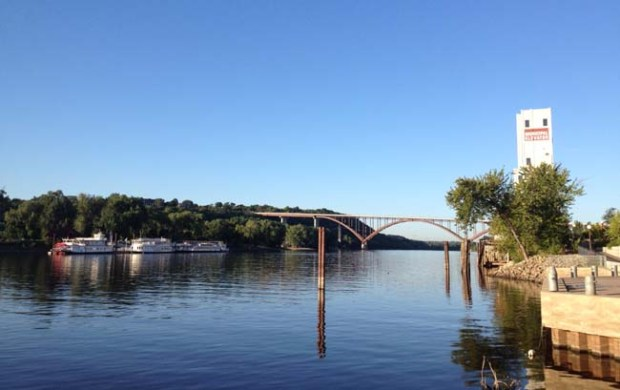 The Mississippi River flows beneath the High Bridge just west of downtown St. Paul. (Pioneer Press: Lauren Osborne)