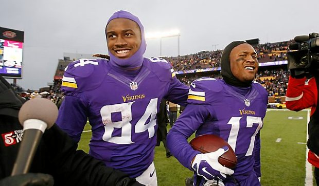 Minnesota Vikings wide receiver Jarius Wright, right, celebrates with teammate Cordarrelle Patterson, left, after their overtime win over the New York Jets. (AP Photo/Alex Brandon)