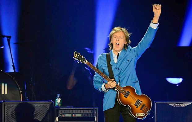 Paul McCartney greets the crowd during a concert at Target Field in Minneapolis on Saturday, August 2, 2014. (Pioneer Press: Ben Garvin)