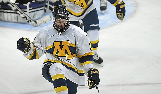 Mahtomedi forward Jack Becker celebrates after scoring during the second period of a Class A quarterfinal game of the state boys hockey tournament at Xcel Energy Center in St. Paul on Wednesday, March 4, 2015. Becker scored three goals as Mahtomedi won 6-3. (Pioneer Press: Ben Garvin)