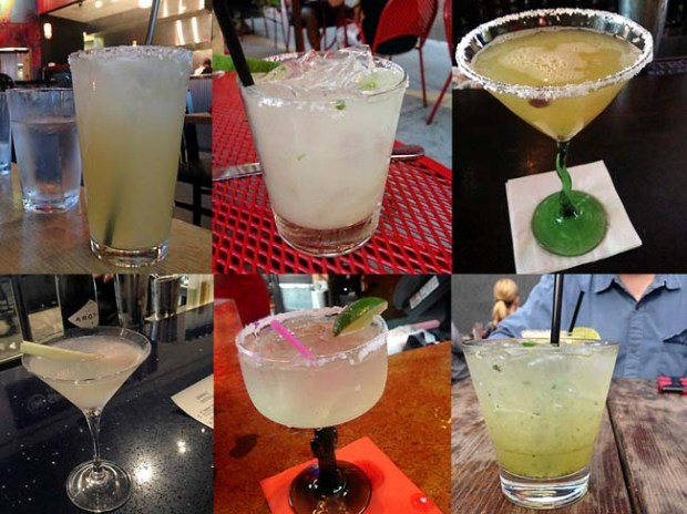Clockwise from top left: Primiero Impacto Margarita at Tinto Cocina + Cantina in Minneapolis; Diamante Margarita at Barrio in St. Paul; The Bullfighter at La Cucaracha in St. Paul; IN Spirits Margarita from Intelligent Nutrients salon bar in Northeast Minneapolis; Cucumber Margarita at Boca Chica in St. Paul, and Obregon Margarita at Sonora Grill in Minneapolis. (Pioneer Press: Jess Fleming)