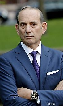 Major League Soccer commissioner Don Garber during a news conference with Mayor Chris Coleman at Mears Park in downtown St. Paul on Monday, September 21, 2015. Garber expressed the league's preference for the old Midway bus barn for the proposed new Minnesota United Soccer Stadium. (Pioneer Press: John Autey)