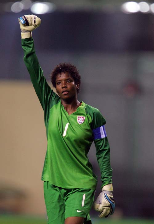 U.S. goalkeeper Briana Scurry acknowledges the crowd after her team's 4-1 win in the 2007 Women's World Cup third place match against Norway on September 30, 2007 in Shanghai, China. (Ronald Martinez/Getty Images)