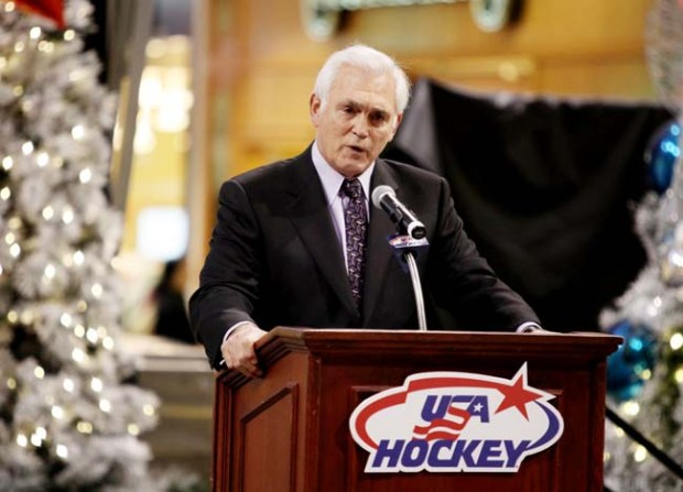 Lou Nanne, former ice hockey player and Olympian, speaks during the unveiling ceremony of the 2010 U.S. Olympic Women's Ice Hockey Team at the Mall of America on December 17, 2009 in Bloomington, Minnesota. (Photo by Genevieve Ross/Getty Images)