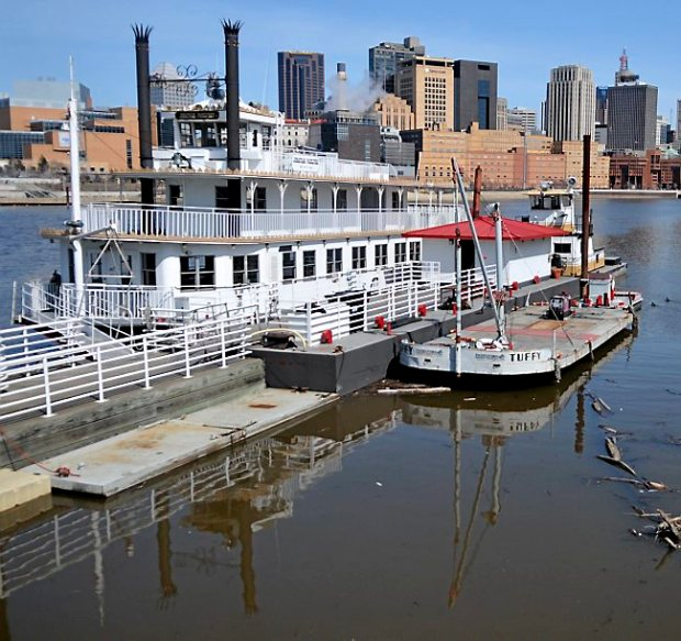 The Jonathan Padelford was being readied Thursday afternoon April 4, 2013 on Harriet Island as the three boats owned by the Padelford Packet Boat Co. will begin their runs this weekend. (Pioneer Press: John Doman)