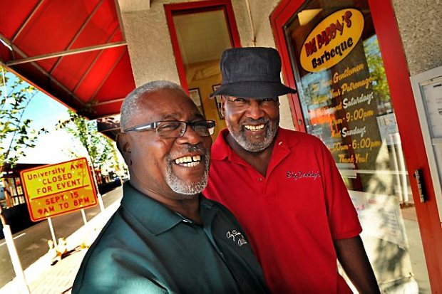 Ron White, left, and co-owner Bob Edmond at their Central Corridor restaurant Big Daddy's BBQ Thursday September 12, 2013. (Pioneer Press: Jean Pieri)
