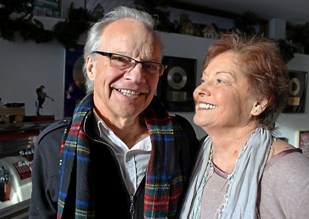 "In this photo made Dec. 18, 2013, Bobby Vee poses with his wife, Karen, at their home in Cold Spring, Minn. Alzheimer's disease forced the 1960s pop idol Vee to stop performing in 2011 and now 70, Vee is releasing an album that may be the capstone to his career, entitled ""The Adobe Sessions."" (AP Photo/Jeff Baenen)"