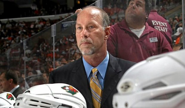 Former assistant coach Mike Ramsey of the Minnesota Wild looks on from the bench area during a game against the Philadelphia Flyers at the Wachovia Center on September 29, 2009 in Philadelphia, Pennsylvania. (Photo by Bruce Bennett/Getty Images)