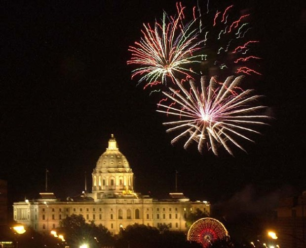 Fourth of July fireworks explode over the state capitol. (Pioneer Press file photo)