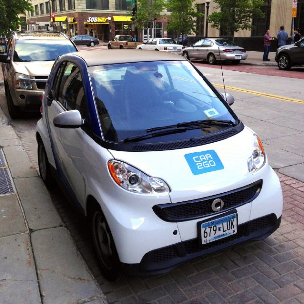 The car-sharing service Car2Go has said it will leave the Twin Cities market because of high taxes. (file photo)