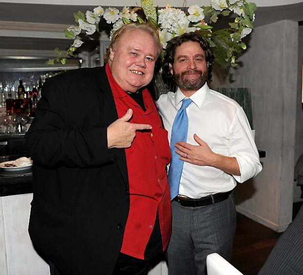 """Louie Anderson, left, and Zach Galifianakis attend the party following the premiere of FX's """"Baskets"""" at Pacific Design Center on Jan. 14, 2016, in West Hollywood. (Photo by Frank Micelotta/FX)"""