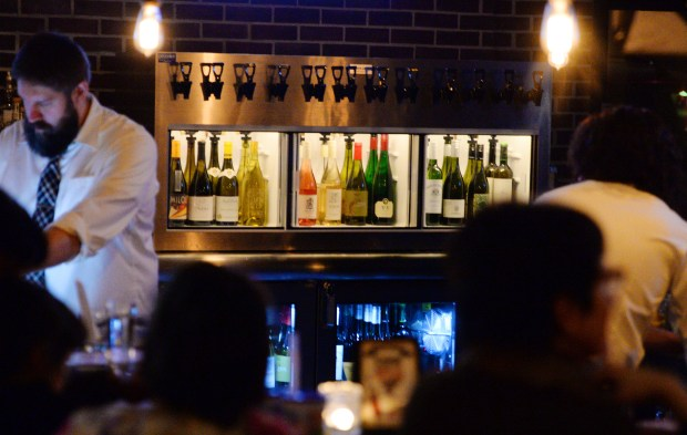 The wine chiller at the Red Cow in Cathedral Hill in St. Paul on Tuesday, January 19, 2016 (Pioneer Press: John Autey)