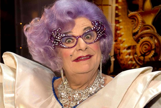 Comedian Dame Edna, aka Barry Humphries, is 82. We like her Sydney Operahouse number. (Getty Images: Arthur Edwards)