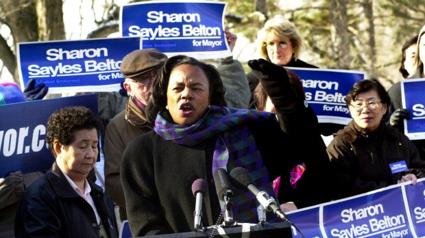 "Minneapolis Mayor Sharon Sayles Belton talks about the environment, airport noise, and transportation issues as she kicks off her re-election campaign at Nokomis Community Center in Feb. 2001. A Piioneer Press editorial said of Sayles Belton, who lost the Nov. 2001 election to R.T. Rybak, ""...departs after eight mostly successful years at the helm. Her most distinctive legacy will doubtless be the leadership she has shown on educational issues, particularly her influential support for a restoration of neighborhood schools and a decrease in busing. Add to that Sayles Belton's breaking of both the race and gender barriers to the mayor's office, and hers has clearly been a memorable tenure."" (Pioneer Press: Craig Borck)"
