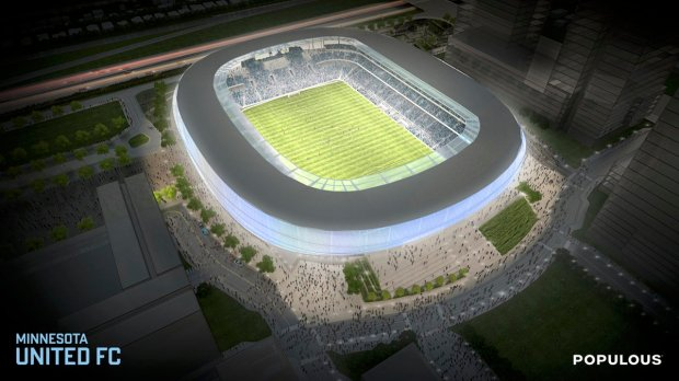 """The professional soccer stadium to be built at St. Paul's Midway area is to have a """"flow"""" design concept with LED lighting throughout. (Courtesy of Minnesota United)"""