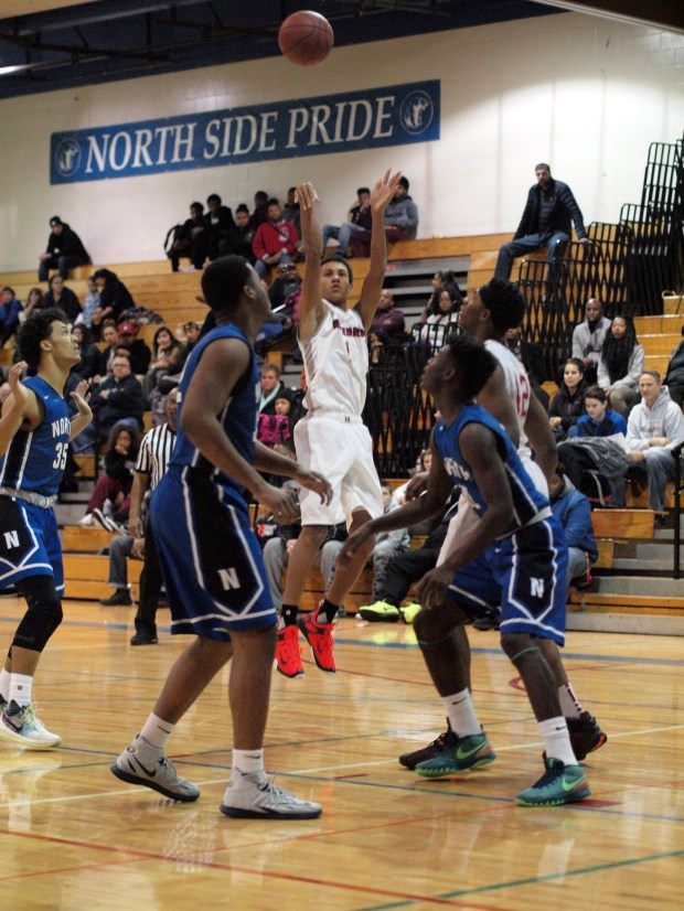 Minnehaha Academy basketball player Jalen Suggs, middle in white uniform. (Courtesy photo)