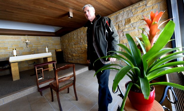 Father Patrick McCorkell, the retreat director at the Demontreville Jesuit Retreat House in Lake Elmo, shows a small chapel that can be used for 15 minutes at a time on Wednesday, February 3, 2016. (Pioneer Press: Jean Pieri)