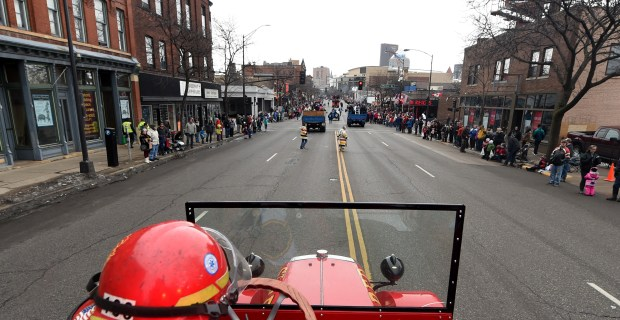 The view from Luverne, the Vulcans' firetruck, during the Winter Carnival Grande Day Parade in St. Paul on Saturday, Jan. 30, 2016. (Pioneer Press: John Autey)